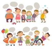 Niños lindos con las burbujas del discurso Niños fijados ilustración del vector