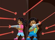 Niños lindos de la etiqueta del laser ilustración del vector