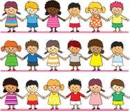 Niños lindos que llevan a cabo la mano libre illustration