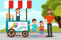 Niños lindos que piden que su padre compre helado Papá que pasa tiempo con su hija e hijo en parque de la ciudad plano stock de ilustración