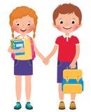 Niños muchacho y alumnos de la muchacha de la escuela libre illustration