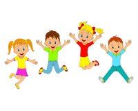 Niños, muchachos y muchachas saltando y sonriendo Foto de archivo libre de regalías
