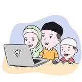 Niños musulmanes que miran el ejemplo exhausto del vector de la mano de escritorio stock de ilustración