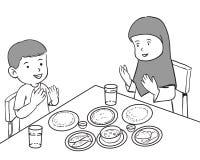 Niños musulmanes que tienen comida stock de ilustración