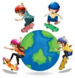 Niños patinadores Imágenes de archivo libres de regalías