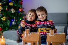 Niños preescolares adorables, hermanos del muchacho, adornando gingerbrea Foto de archivo libre de regalías