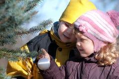 Niños que adornan el árbol del Año Nuevo con las bolas del juguete Imágenes de archivo libres de regalías