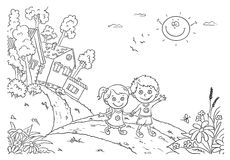 Niños que caminan en el campo stock de ilustración