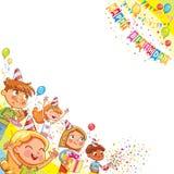 Niños que celebran cumpleaños con el regalo y la torta en el fondo de caer y de globos del confeti stock de ilustración