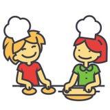 Niños que cocinan, clases de cocina para el concepto de los niños Stock de ilustración