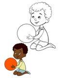 Niños que colorean al muchacho de la página Fotografía de archivo