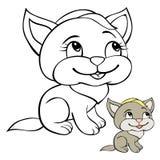 Niños que colorean el gato de la página Foto de archivo libre de regalías