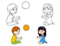 Niños que colorean el muchacho y a la muchacha de la página Imagenes de archivo