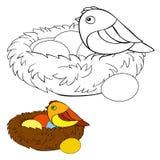 Niños que colorean el pájaro de la página Fotografía de archivo libre de regalías