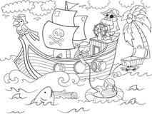 Niños que colorean en el tema del vector de los piratas Imágenes de archivo libres de regalías