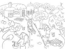 Niños que colorean la historieta en el tema del vector de la cosecha Foto de archivo libre de regalías