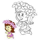 Niños que colorean a la muchacha de la página Imagen de archivo libre de regalías