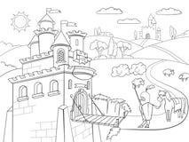 Niños que colorean vector caballeresco del castillo de la historieta libre illustration