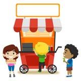 Niños que compran comida en la parada de la comida libre illustration