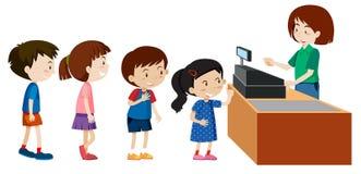 Niños que compran de un cajero libre illustration
