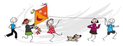 Niños que corren con la cometa libre illustration