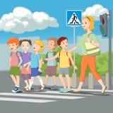 Niños que cruzan el camino con el profesor Ilustración del vector Fotografía de archivo