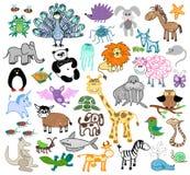 Niños que dibujan animales del garabato stock de ilustración