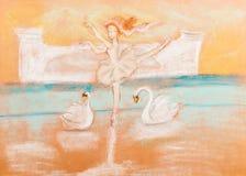 Niños que dibujan - ballet del baile de la bailarina stock de ilustración