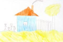 Niños que dibujan con los creyones foto de archivo