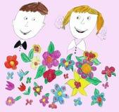 Niños que dibujan día de fiesta de escuela Imagen de archivo