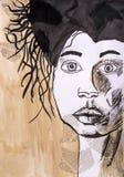 Niños que dibujan el retrato del ` de un ` de la mujer con usos Fotos de archivo libres de regalías
