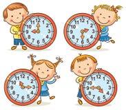 Niños que dicen el sistema del tiempo Imagen de archivo