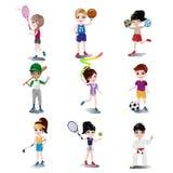 Niños que ejercitan y que juegan diversos deportes Imagen de archivo libre de regalías