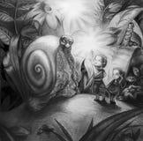 Niños que encuentran con el caracol grande Imagen de archivo