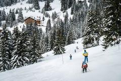 Niños que esquían en Suiza imagen de archivo libre de regalías