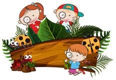 Niños que exploran la bandera de la naturaleza stock de ilustración