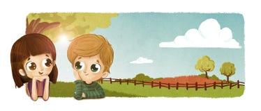 Niños que hablan en campo Libre Illustration