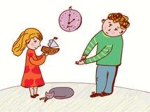Niños que hablan y que piden Imágenes de archivo libres de regalías