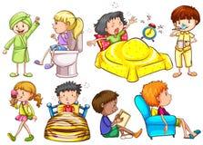 Niños que hacen diversas actividades ilustración del vector