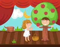 Niños que hacen drama de la etapa ilustración del vector