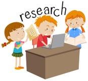 Niños que hacen flashcard de la educación de la investigación ilustración del vector