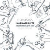Niños que hacen los regalos de la Navidad y del Año Nuevo Ejemplo del bosquejo del vector Concepto del arte y de la creatividad T stock de ilustración