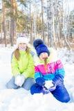 Niños que juegan afuera en invierno Imagen de archivo