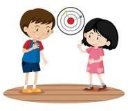 Niños que juegan al juego del dardo ilustración del vector