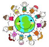 Niños que juegan alrededor del planeta de la tierra ilustración del vector
