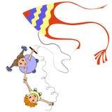 Niños que juegan cometas stock de ilustración