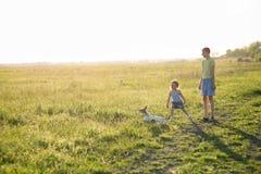 Niños que juegan con el perro en la puesta del sol, Imagenes de archivo