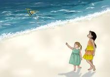 Niños que juegan con la cometa en una playa Fotografía de archivo libre de regalías