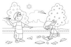 Niños que juegan con los aeroplanos de papel ilustración del vector