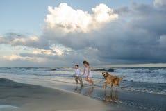 Niños que juegan con un perro en la playa Foto de archivo libre de regalías
